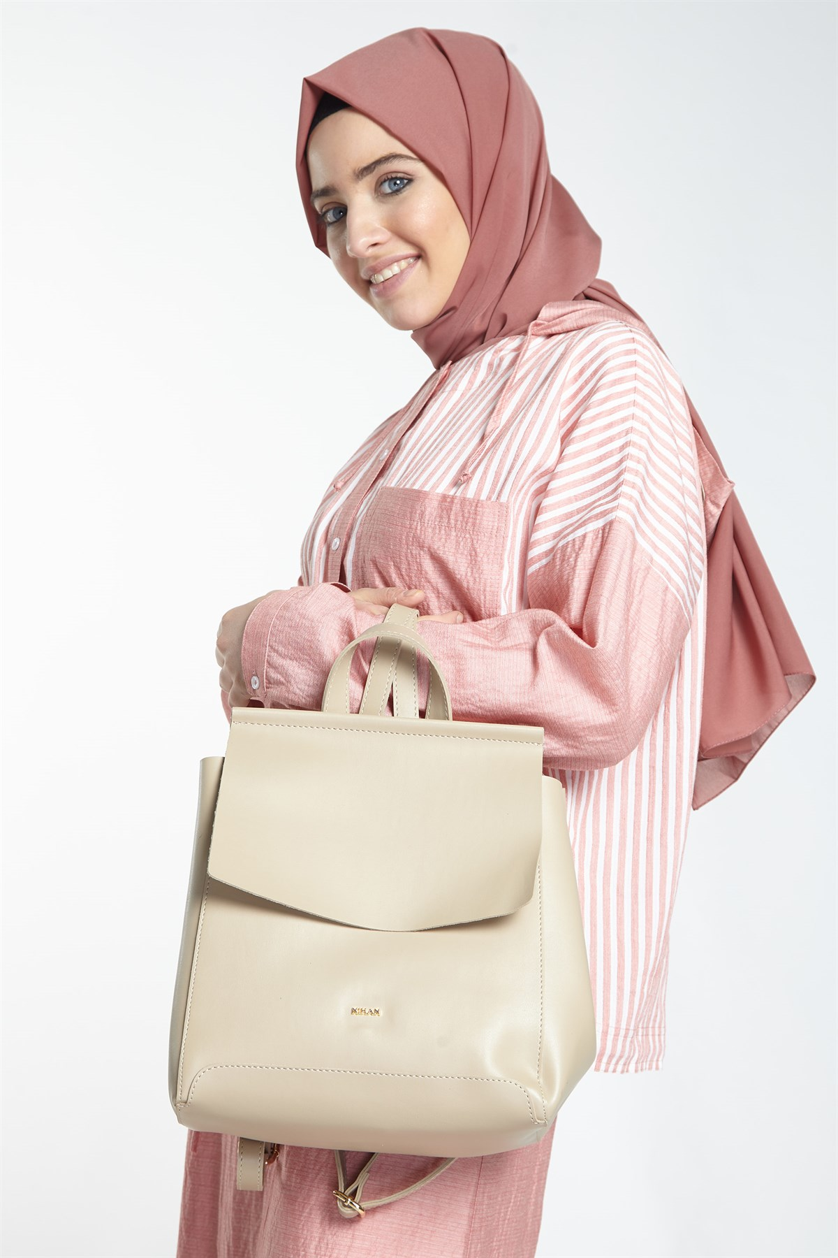 Nihan Backpack-Beige X9117