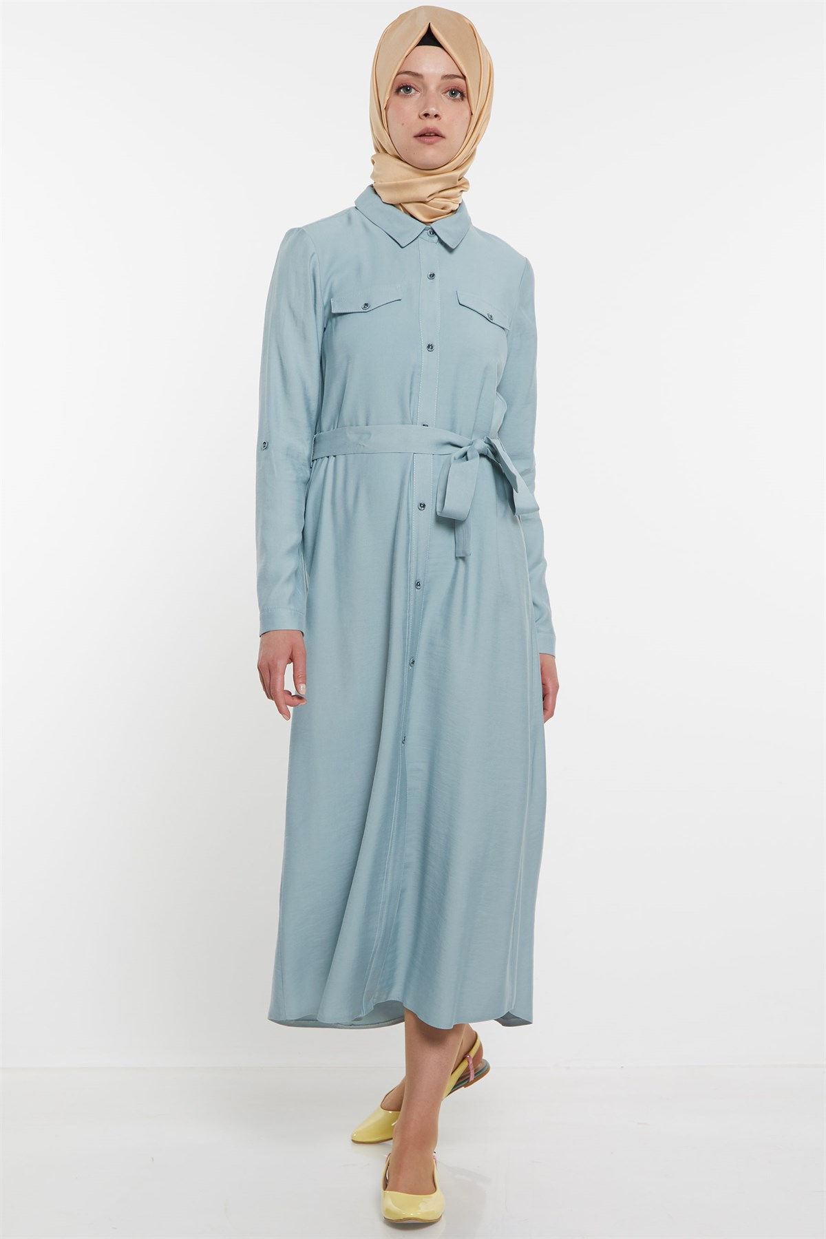 Nihan Belted Dress- Light Blue X5116