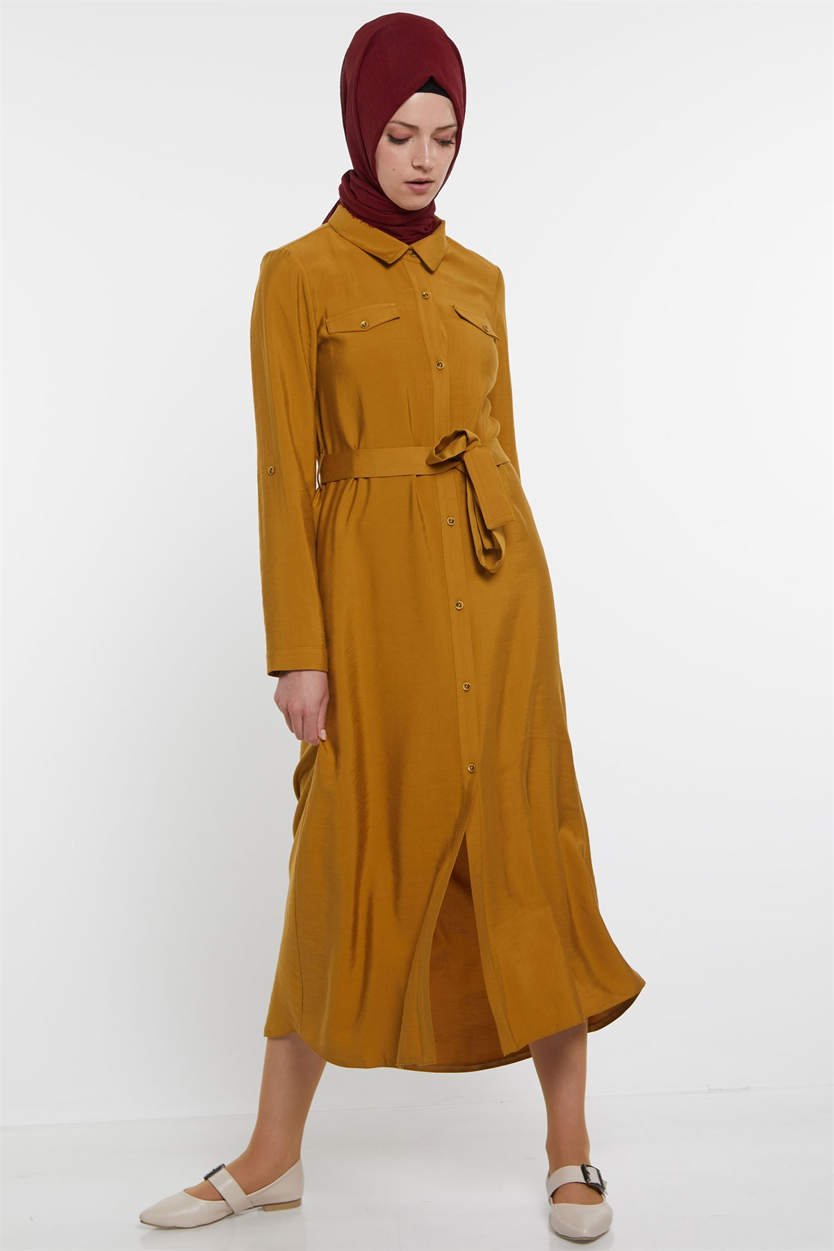 Nihan Belted Dress- Mustard X5116