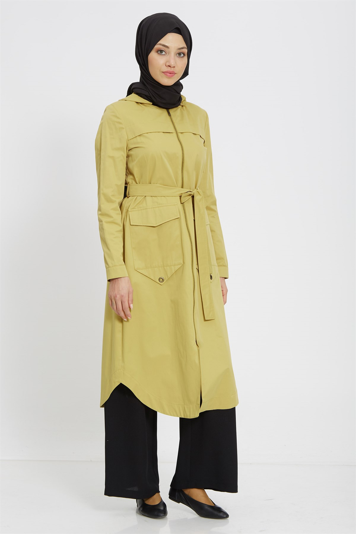 Nihan Zippered&Hooded Trenchoat-Yellow X3162