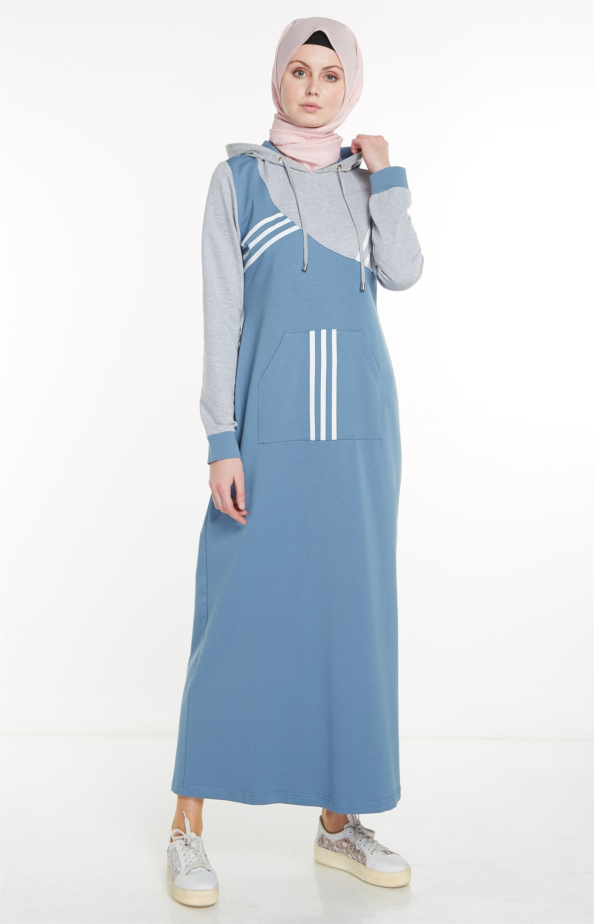 Nihan Hooded Cotton Dress-Turquoise X4016