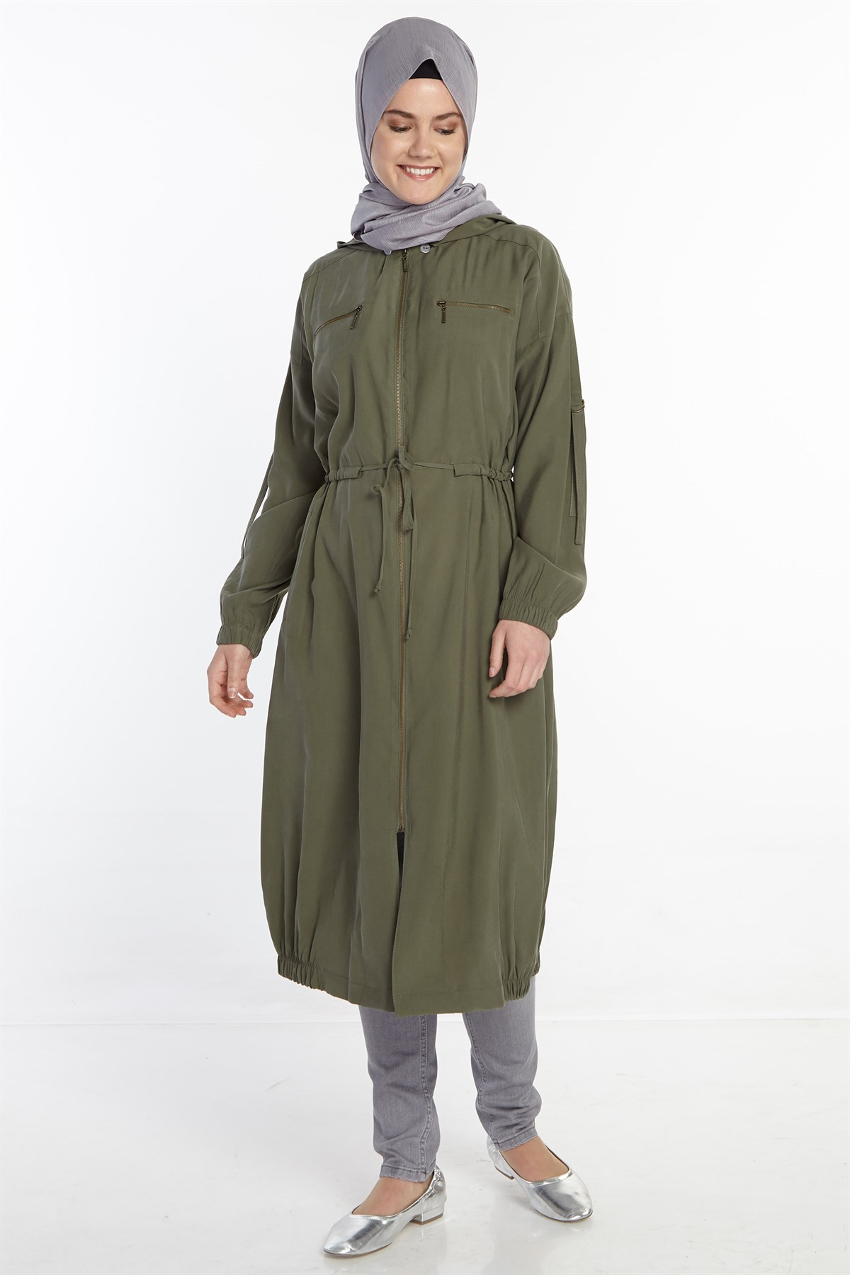 Nihan Hooded Trenchcoat-Khaki X4117