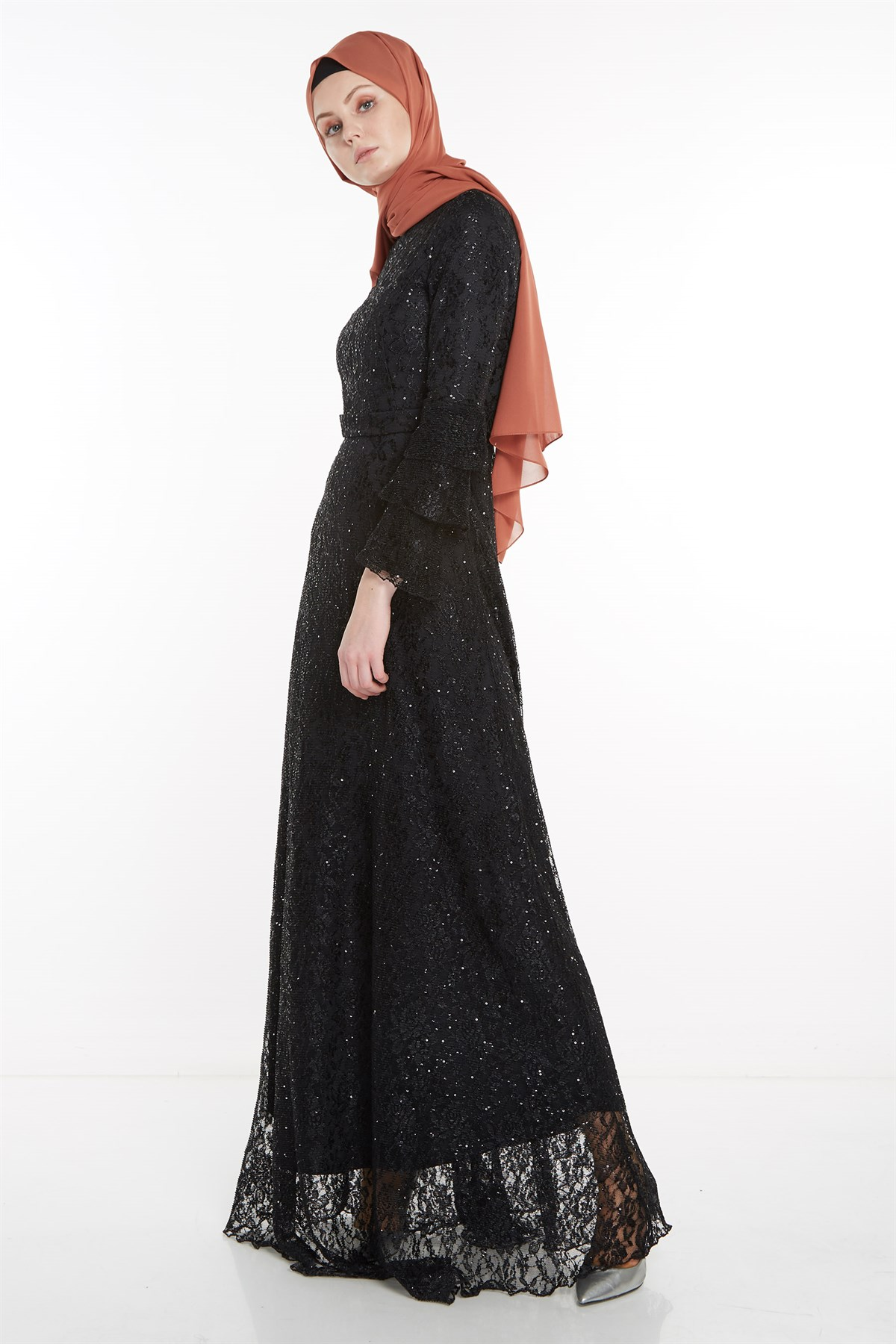Nihan Belted Evening Dress-Black X5208