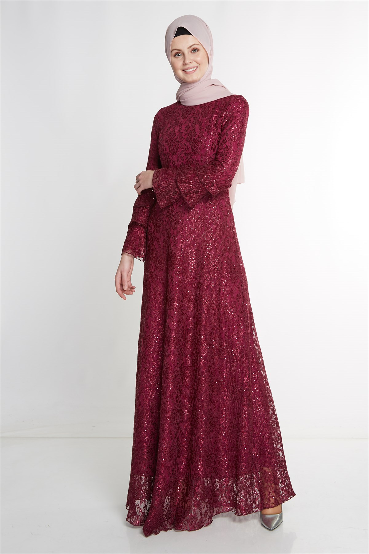 Nihan Belted Evening Dress-Plum X5208