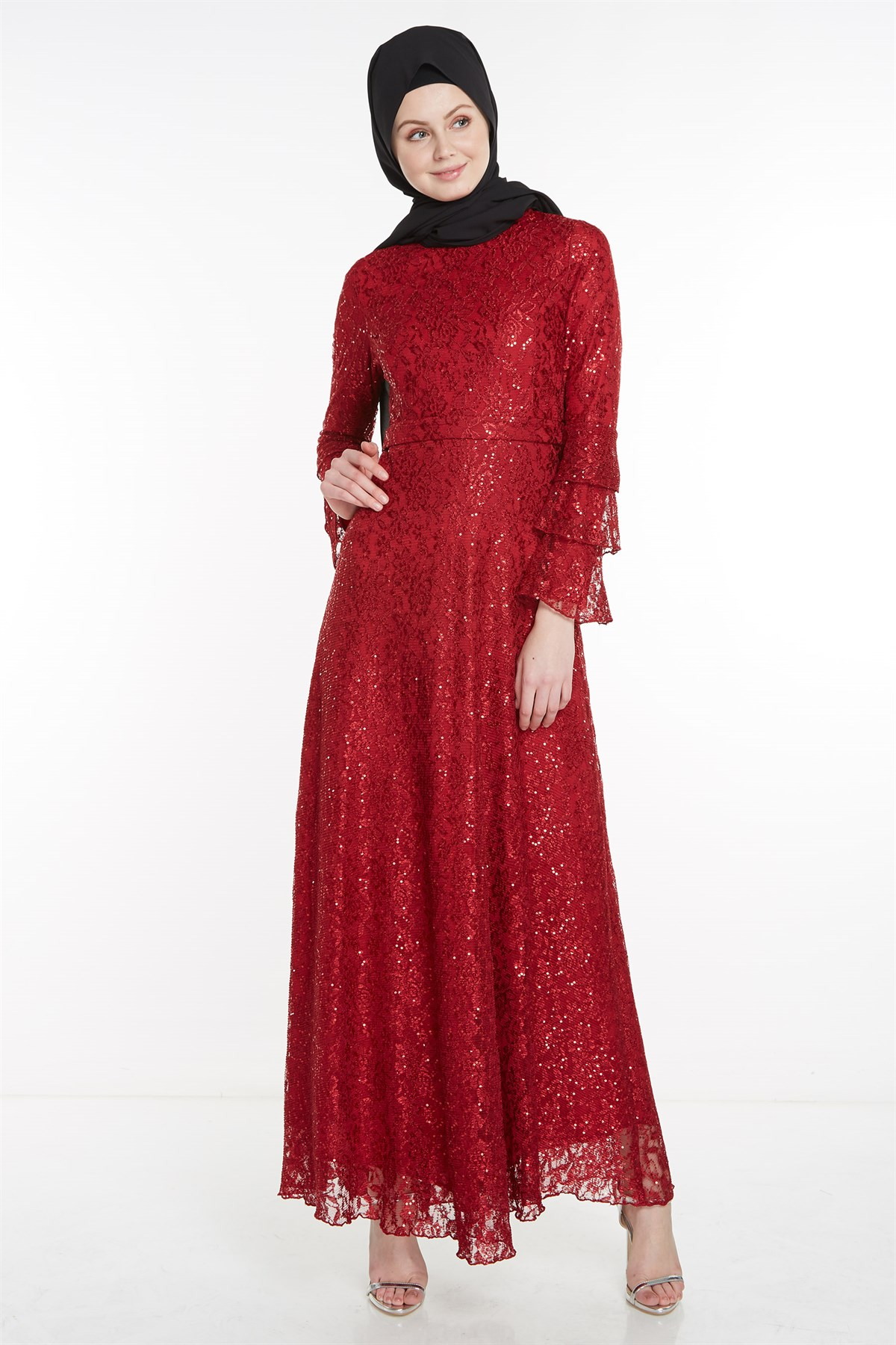 Nihan Belted Evening Dress-Claret Red X5208