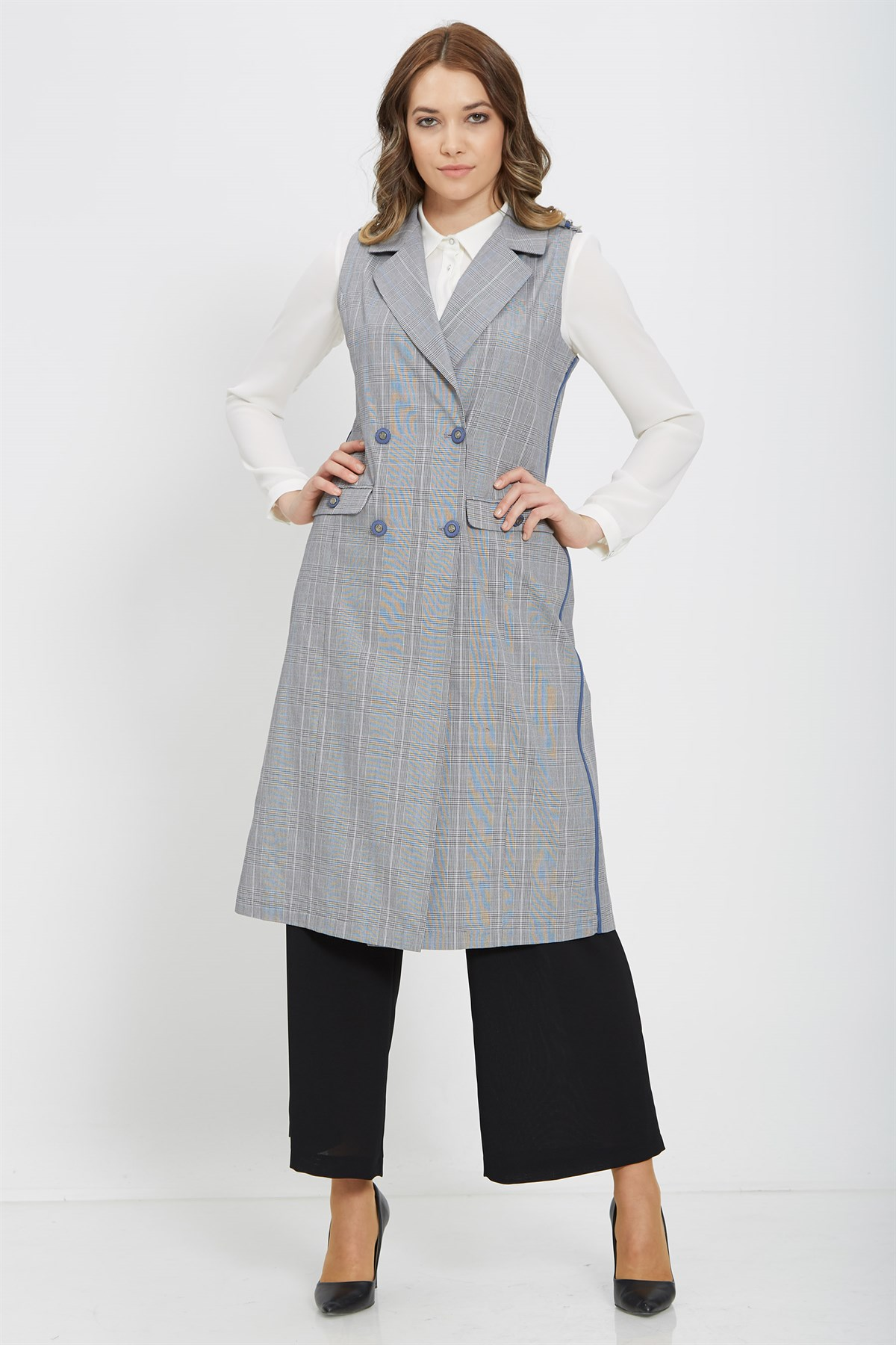 Nihan Checkered&Buttoned Vest-Blue Lined X3037