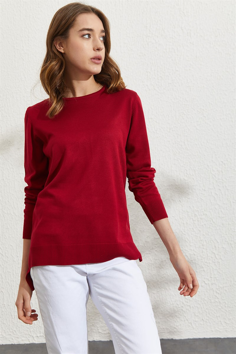 Nihan Basic Triko Tunik  Bordo
