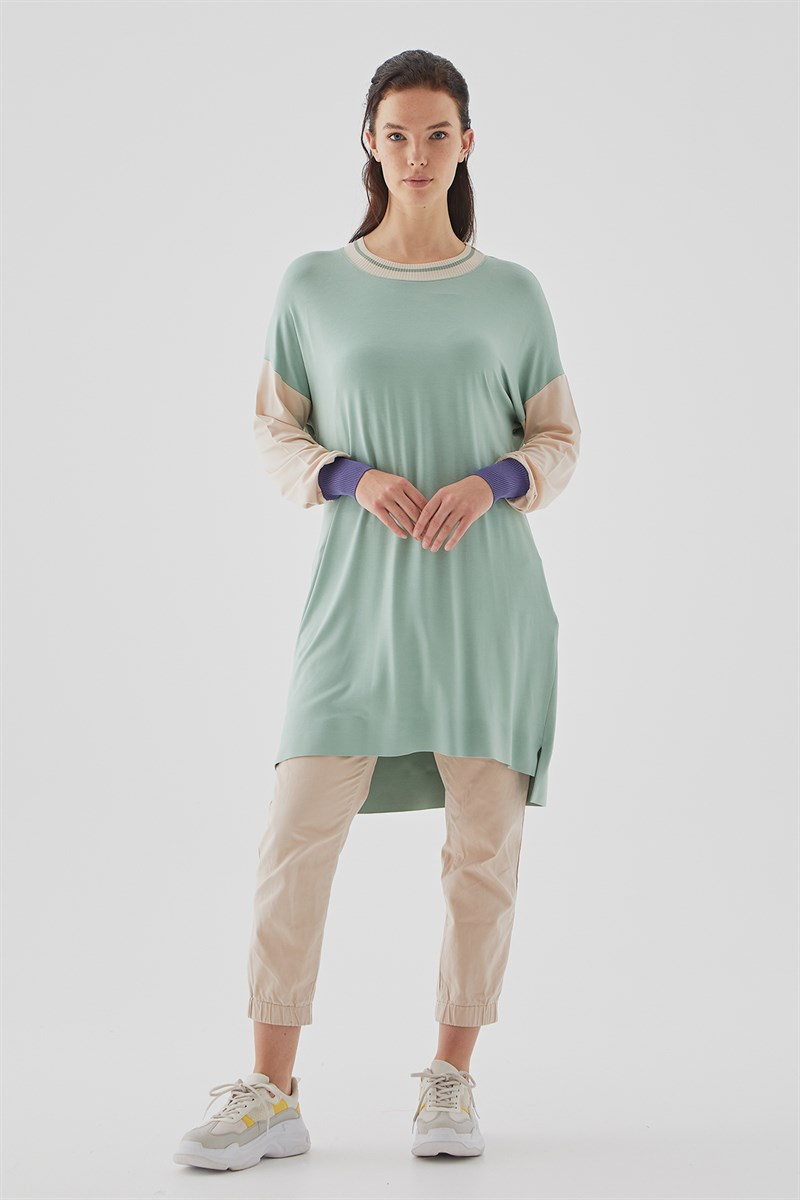 Nihan Colorblock Penye Tunik  Mint