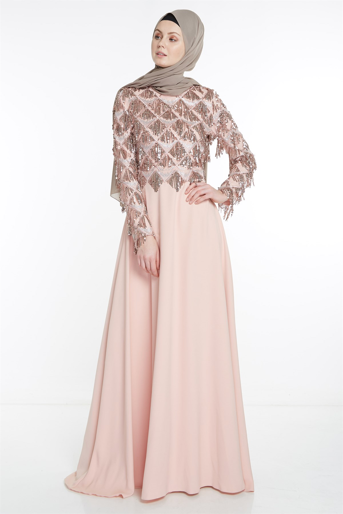 Nihan Evening Dress- Powder X5209