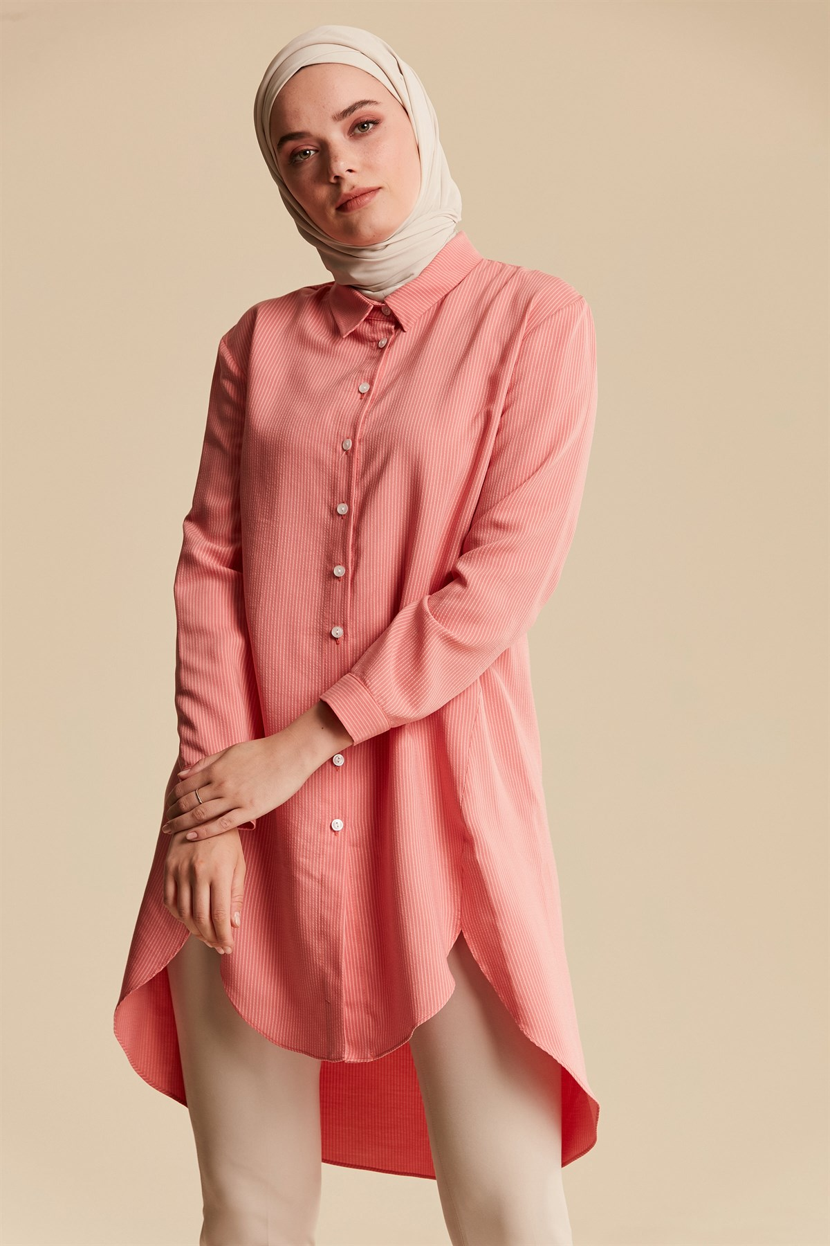 Nihan Tencel Basic Tunik-Mercan X3305